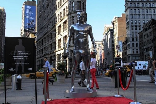 Statues of Davi Beckham are popping up in New York and on the West Coast