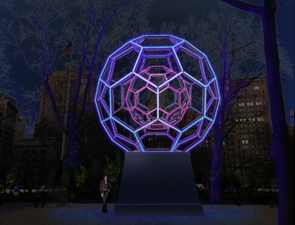 Leo Villareal's Buckyball in Madison Square Park