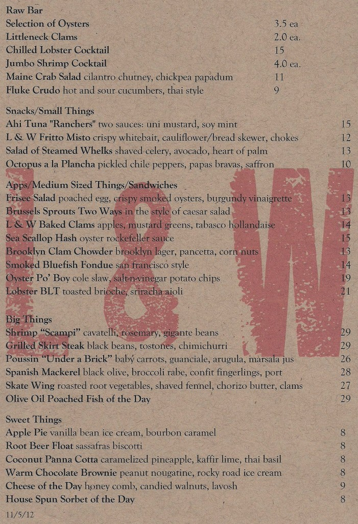 LW Oyster Co in New York's Menu