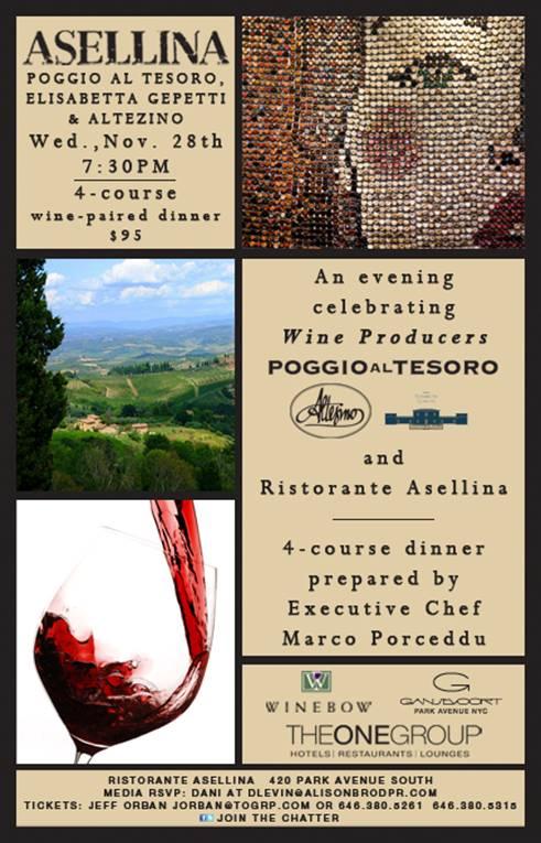 Asellina Wine Dinner on November 28