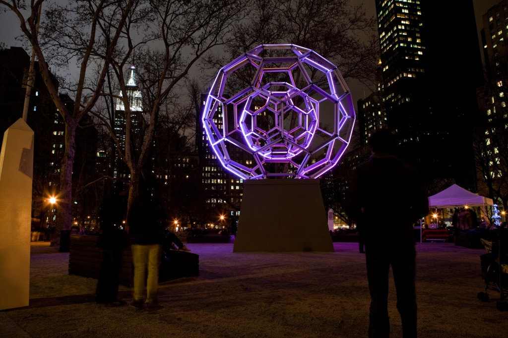 madison square park art installation buckyball extended through February 15