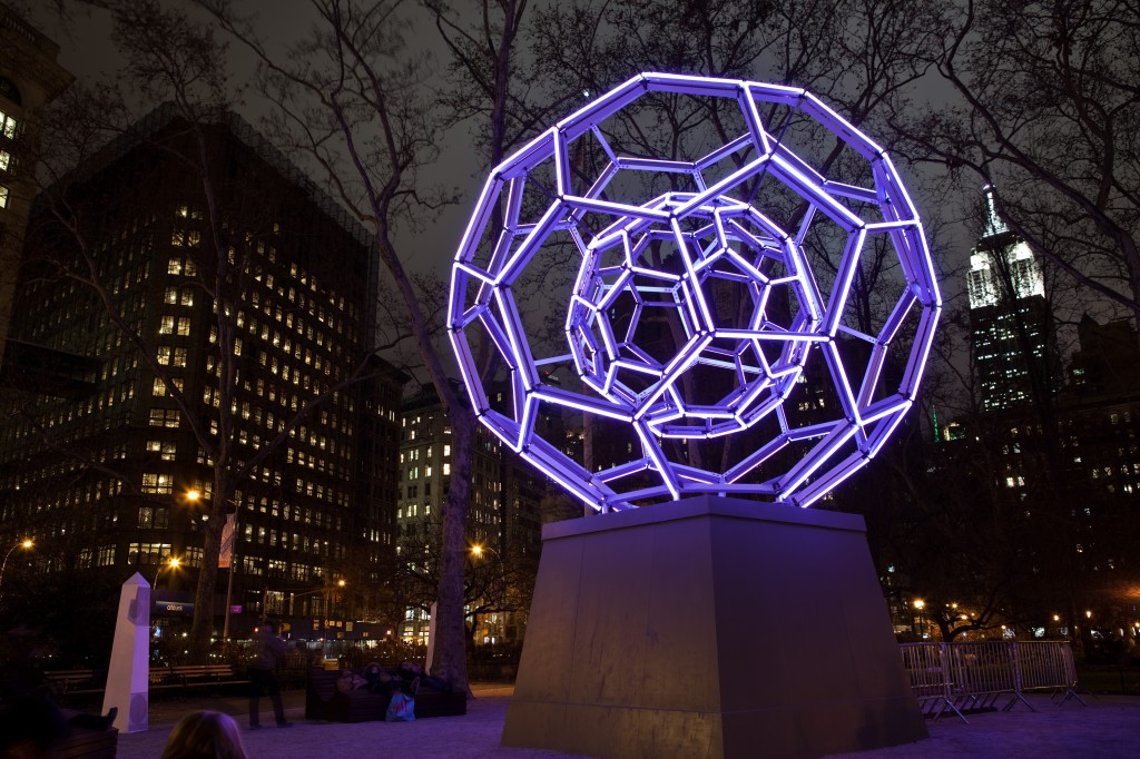 Leo Villareal's 'Buckyball' sculpture in Madison Square Park.