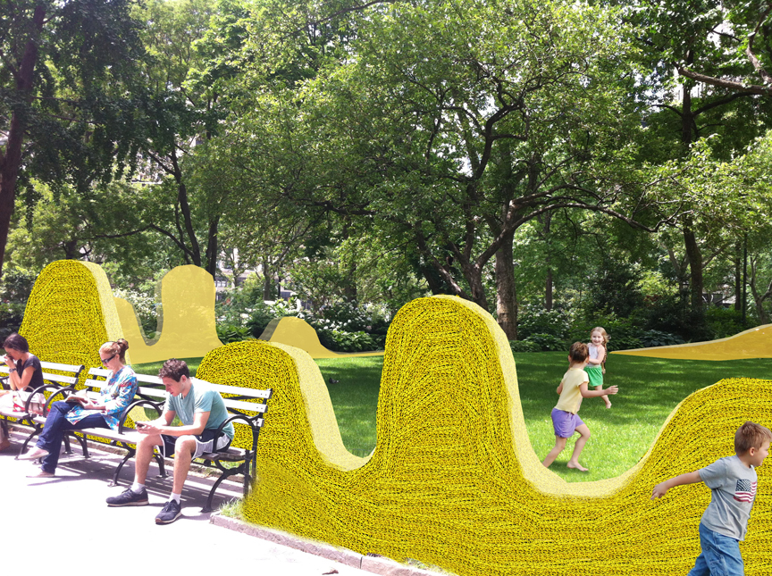 Orly Genger madison square park art installation red yellow and blue