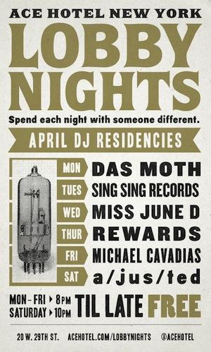 Rewards DJ Set will go down at the Ace Hotel Lobby Bar