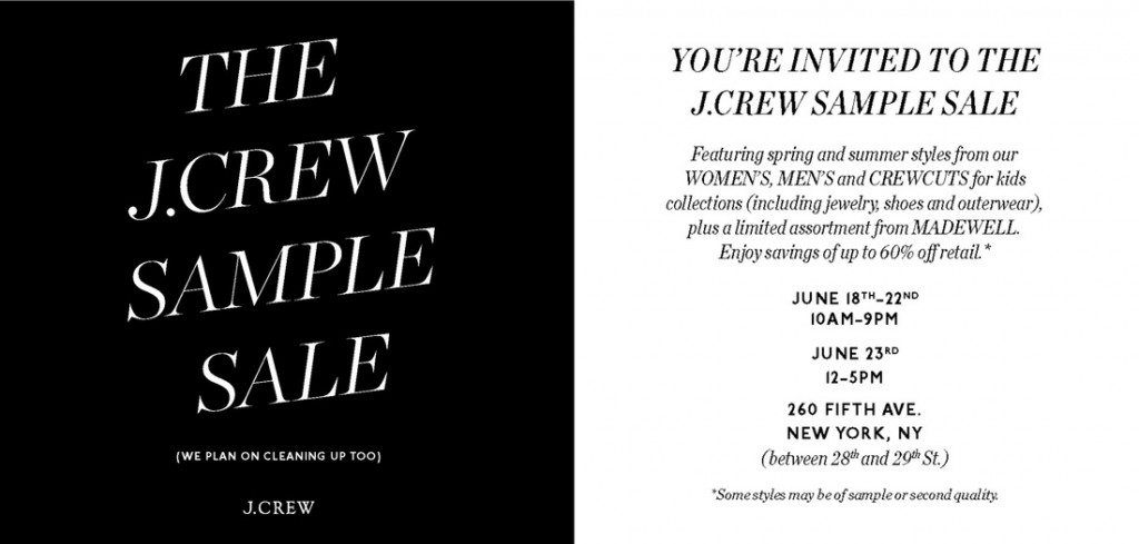 the j crew sample sale 2013 is underway in the nomad neighborhood