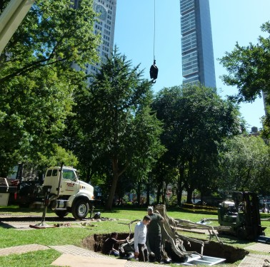 digging holes in madison square park
