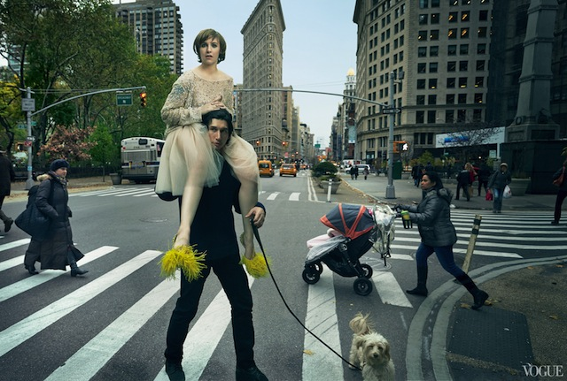 lena dunham retouched photo in vogue on the shoulders of adam driver near flatiron building