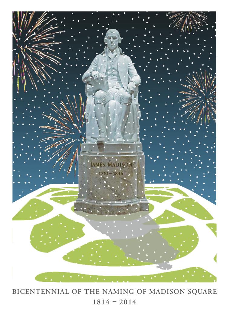 Graphic designer Miriam Berman designed a New Year's card celebrating the bicentennial of Madison Square Park