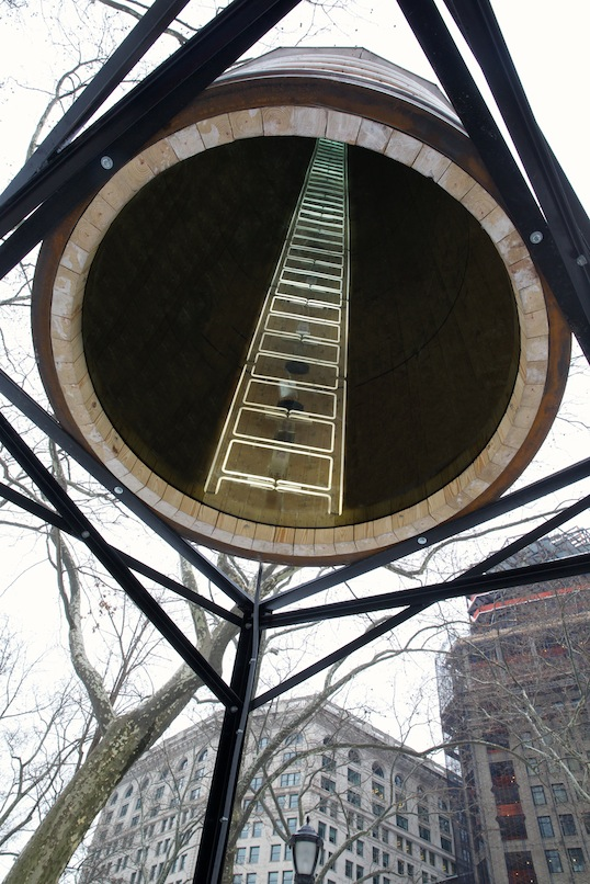 "Ivan Navarro's ladder tower from ""This Land Is Your Land"""