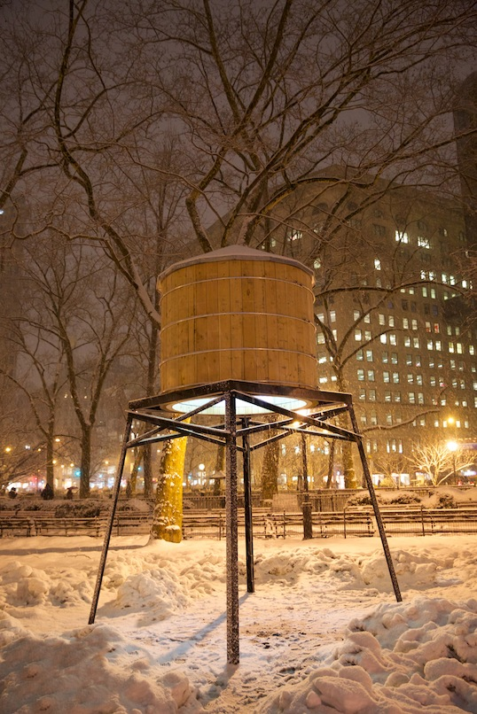 "The recently installed water tower in Ivan Navarro's ""This Land Is Your Land"""