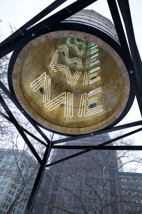 "Stop by Madison Square Park to check out Ivan Navarro's ""This Land Ss Your Land"""