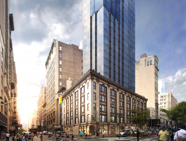 1165 Broadway in the NoMad District is reviewing proposed plans for a glass tower appendage