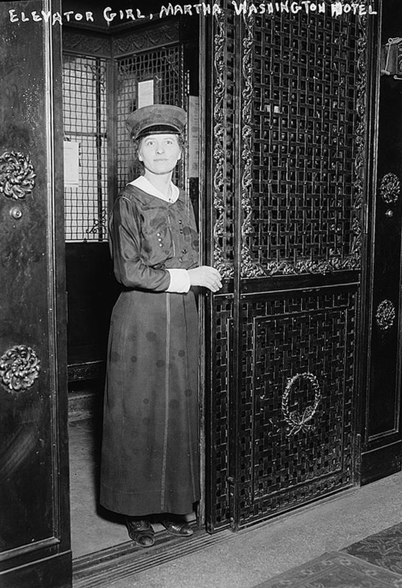 A young woman works as an elevator girl in the iconic Martha Washington Hotel
