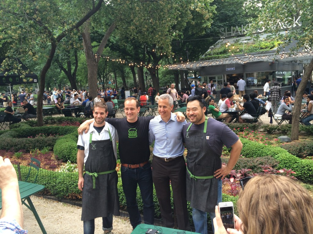 david chang and danny meyer posing in front of shake shack