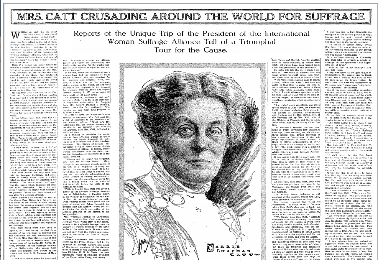 Learn about Mrs. Catt, the Suffrage movement and The Martha Washington Hotel.