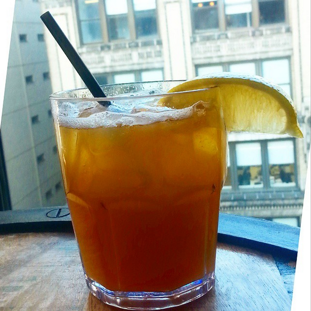 The Peach Smash cocktail is a highlight of Gansevoort Park Hotel's bar menu.