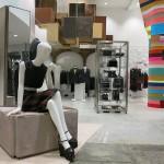 The Miu Miu showroom features Magda Sayeg's 'Everlasting Gobstopper.'