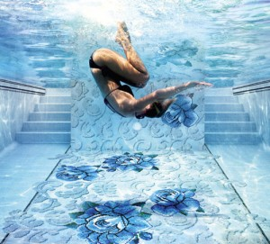 Italian jeweler and mosaic design Sicis glass tile mosaic pool interior