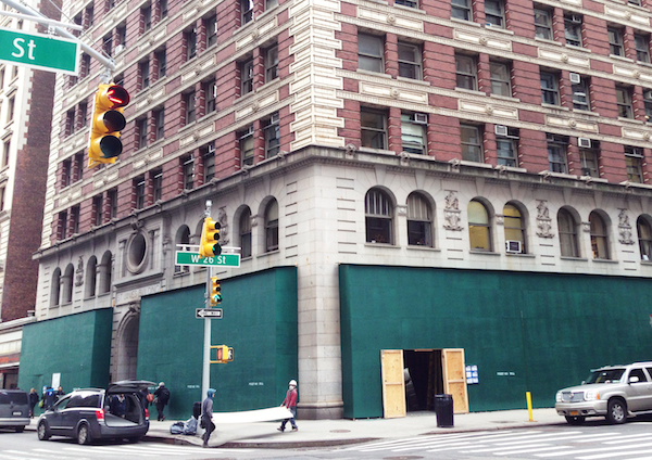 construction on St. James building 1133 Broadway, marking arrival of Inday, Rizzoli Bookstore and La Pecora Bianca