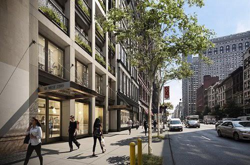Exterior Rendering of Cookfox Building to replace FAO Schwarz