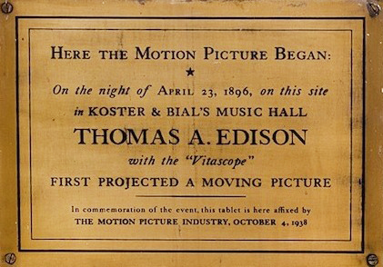 Plaque commemorating Thomas Edison at Koster & Bial
