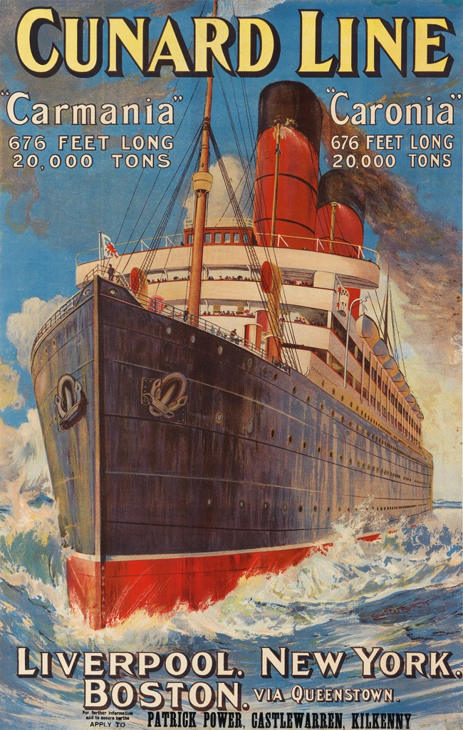 vintage travel poster of the cunard line featuring carmania and caronia