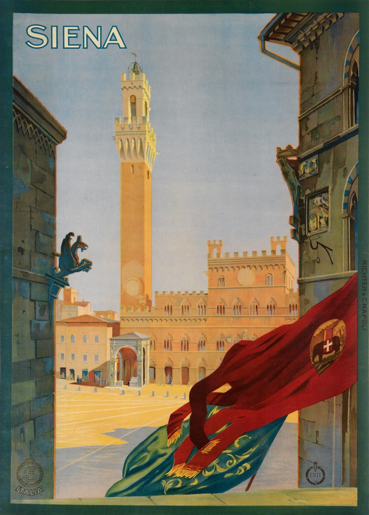 siena travel poster featuring street scene