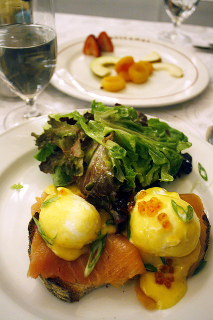 smoked salmon benedict from a french bistro