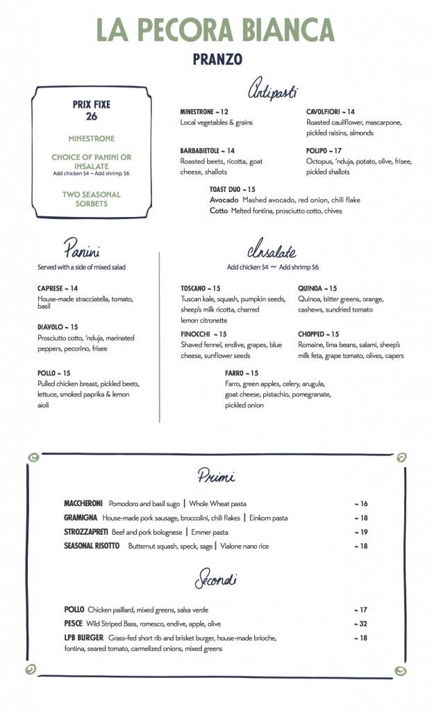 la pecora bianca lunch menu featuring rustic italian cuisine