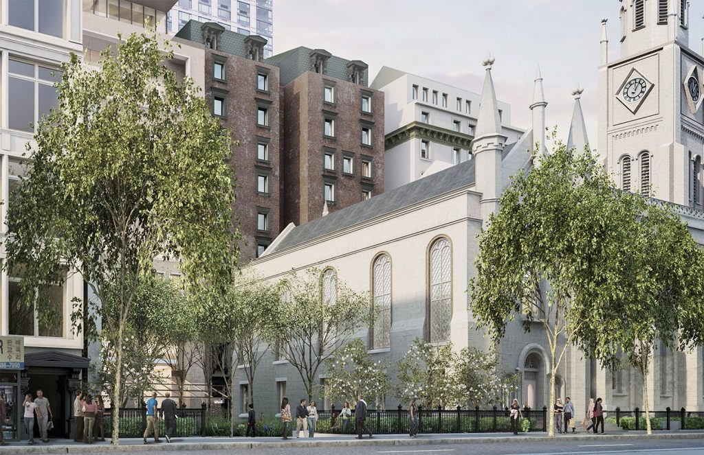 The new proposed HFZ tower leads to restoration of landmark buildings Gilsey House and Marble Collegiate Church