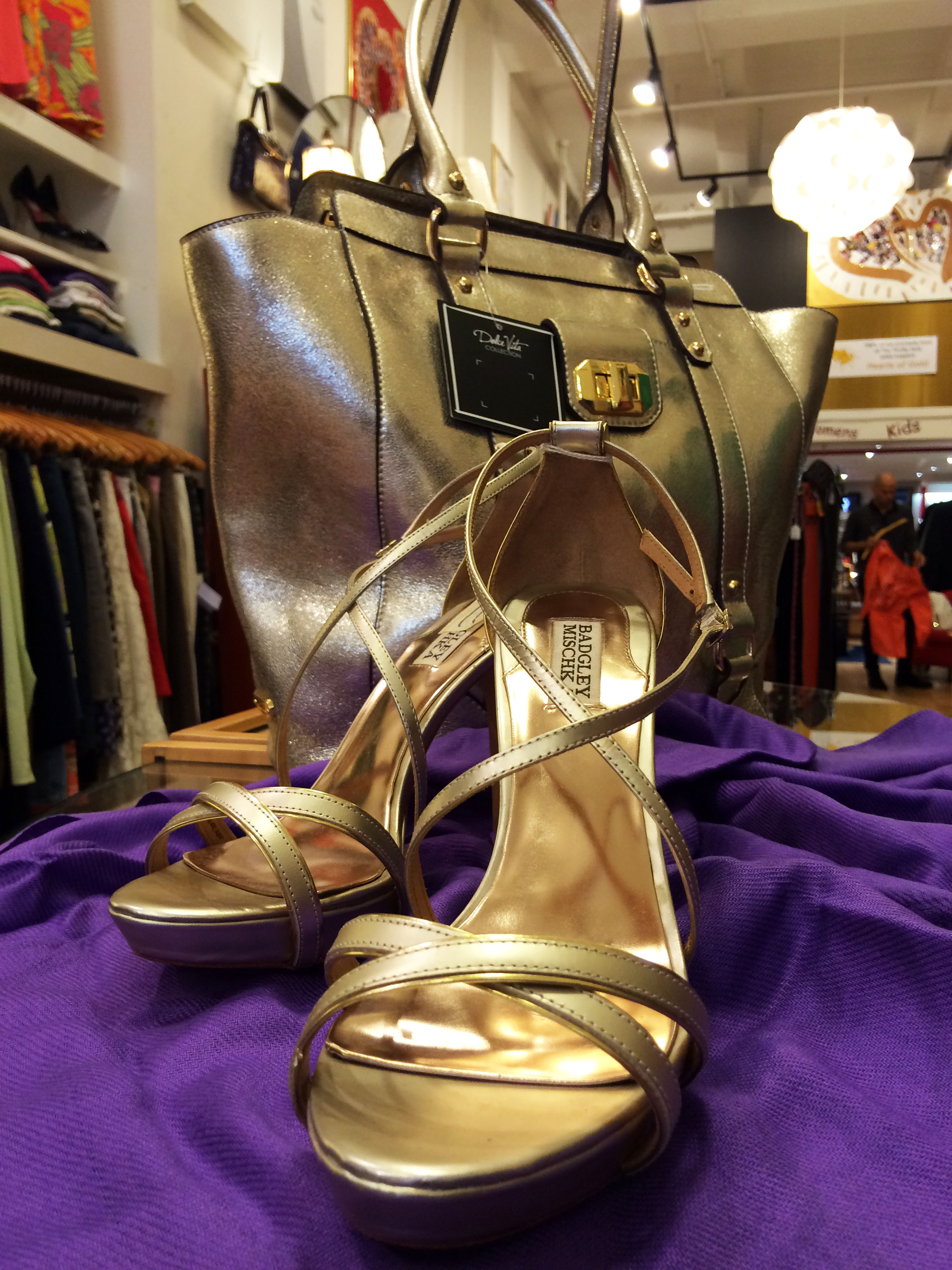 gold badgley mischka shoes available at the thrifty hog