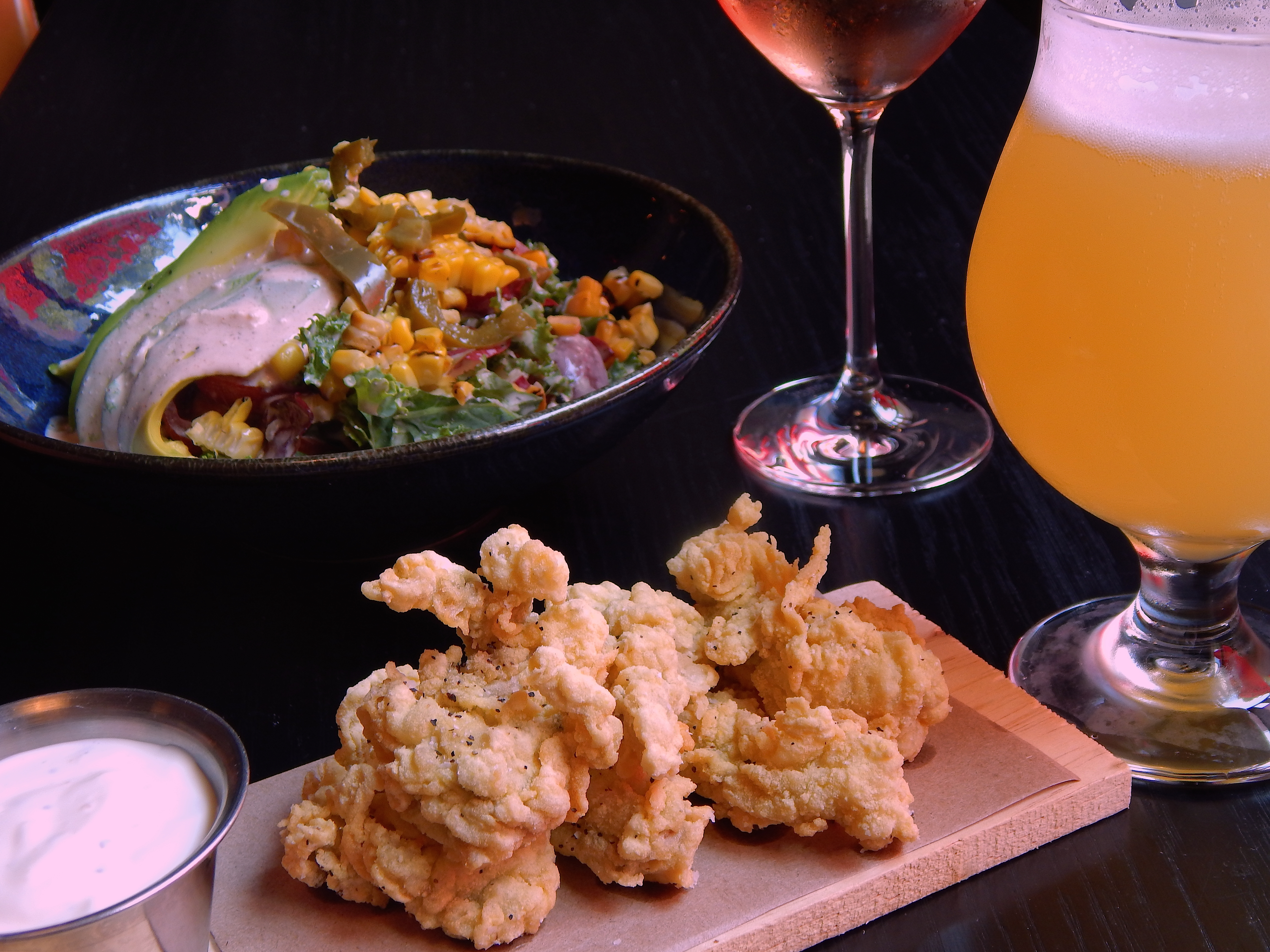 fried oysters and salad at black barn for restaurant week