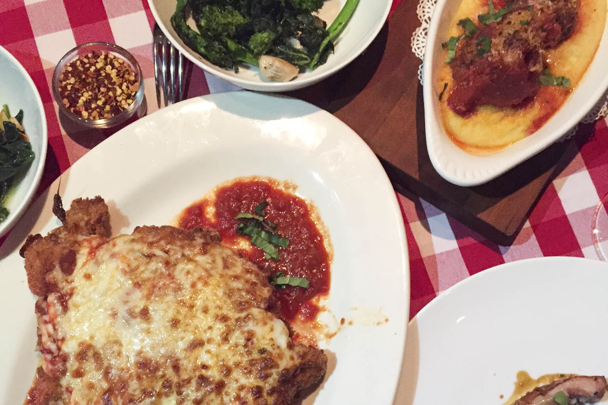 daniel humm chicken parm at mamma guidara's at the nomad