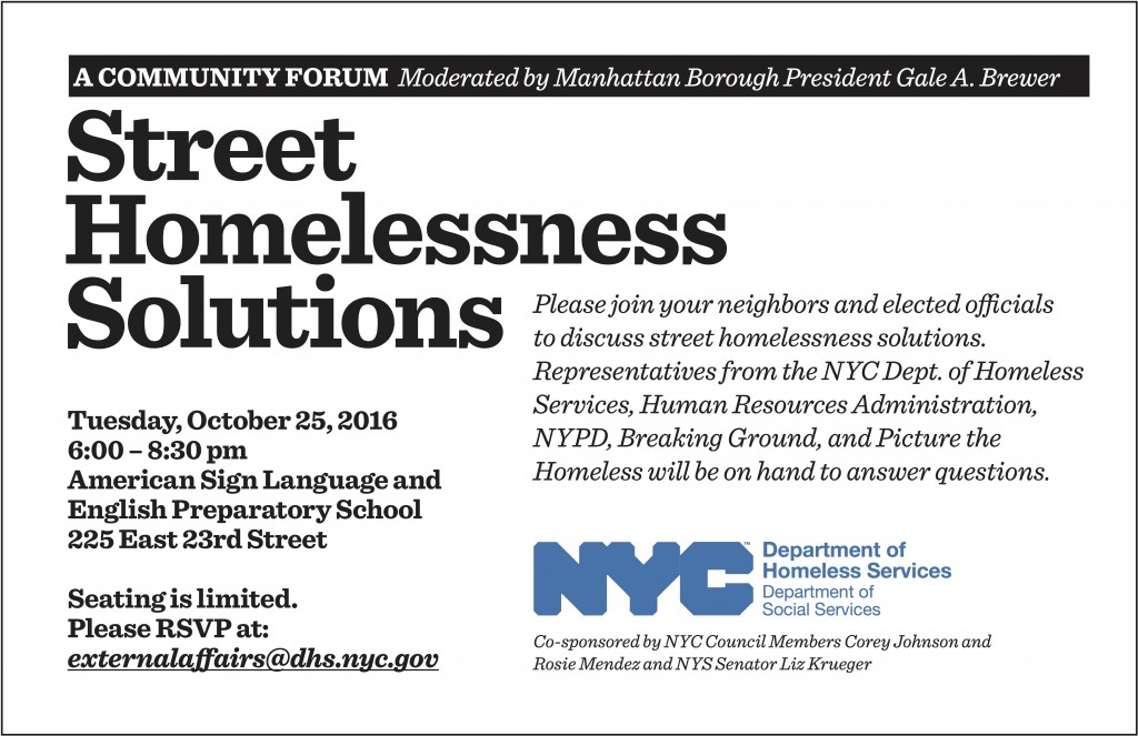 Attend the next NoMad community meeting on local homeless facilities on October 25th and let your voice be heard on this vital issue