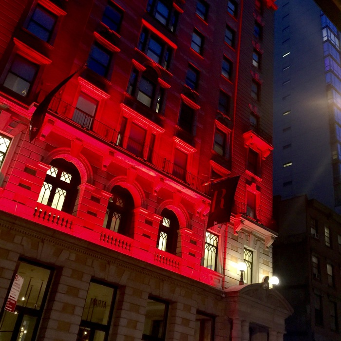 The facade of The Redbury hotel in NoMad, NYC.