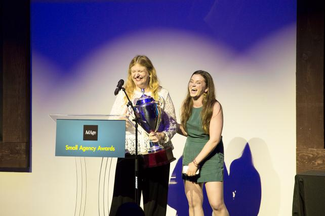 Terry and Sand accept award at Ad Age